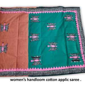 Woman's Handloom Cotton Applic Saree