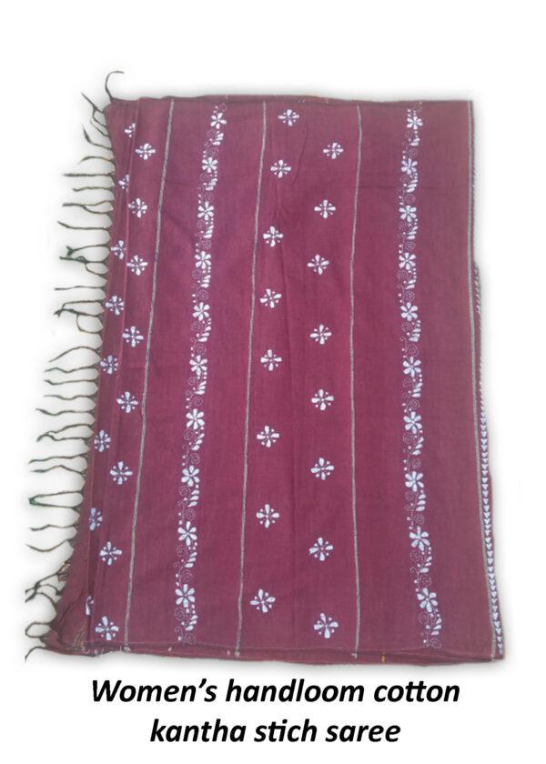 Womans Handloom Cotton Katha Stich Saree - 1
