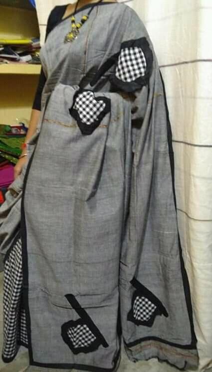 Woman's Handloom Cotton Applic Saree 2