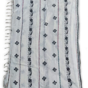 Woman's Handloom Cotton Khes Saree With Kantha Stich Work