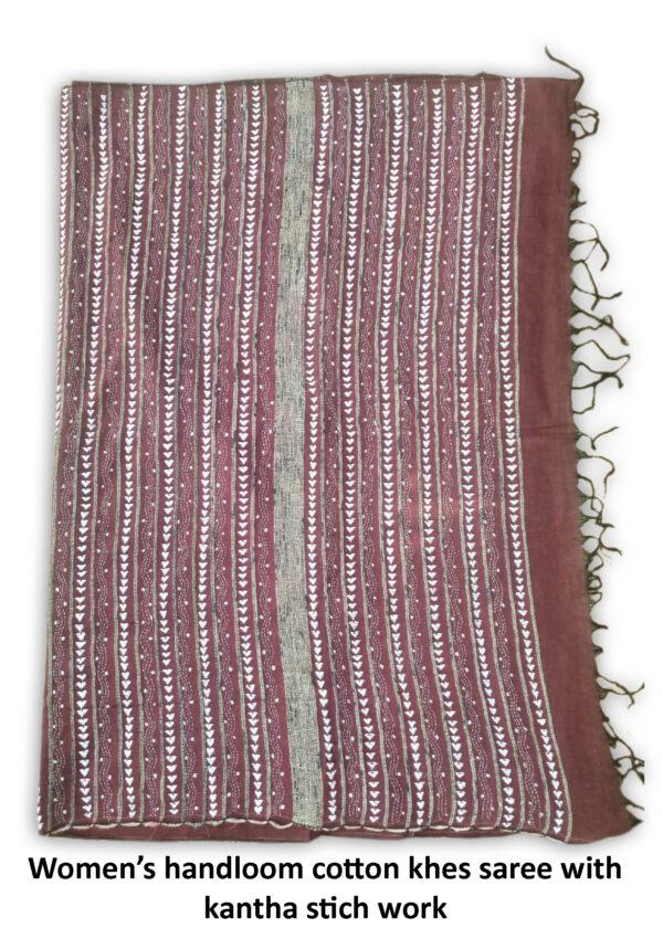 Woman's Handloom Cotton Khes Kantha Stich Saree