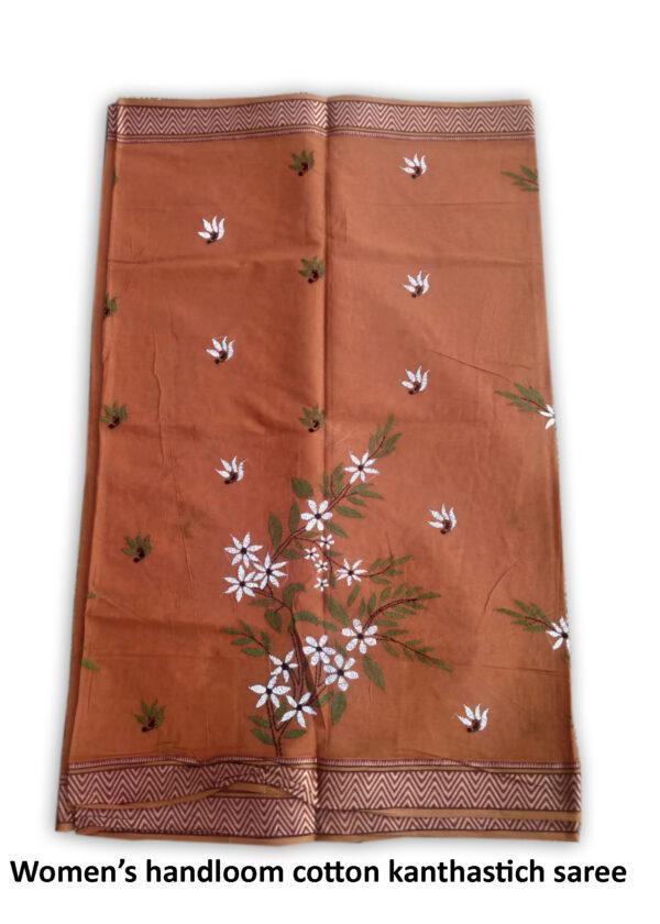 Womans Handloom Cotton Katha Stich Saree - 2