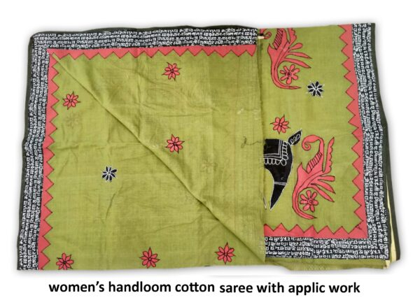 Woman's Handloom Cotton Saree With Applic Work