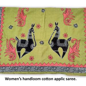 Woman's Handloom Cotton Saree With Applic Work
