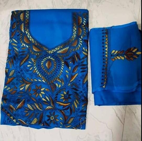 Women's Handloom Cotton Kantha Stich Churidar Piece With Duptta