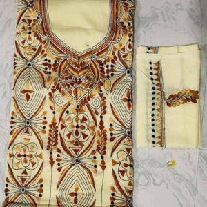 Women's Handloom Cotton Kantha Stich Churidar Piece With Duptta (3)