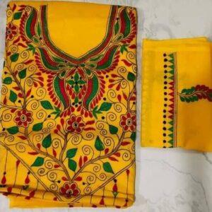 Women's Handloom Cotton Kantha Stich Churidar Piece With Duptta (7)