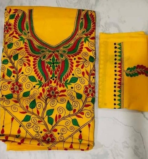 Women's Handloom Cotton Kantha Stich Churidar Piece With Duptta (7)