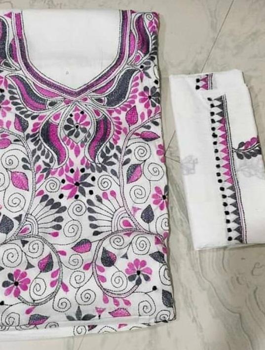 Women's Handloom Cotton Kantha Stich Churidar Piece With Duptta (9)