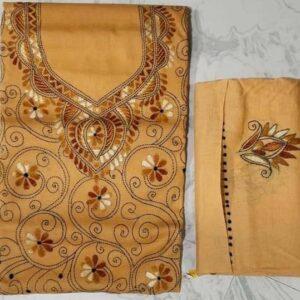Women's Handloom Cotton Kantha Stich Churidar Piece With Duptta (10)