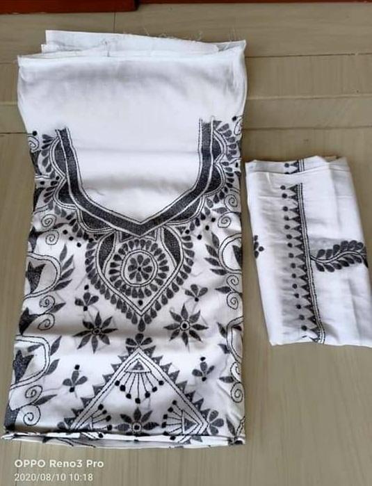 Women's Handloom Cotton Kantha Stich Churidar Piece With Duptta (12)