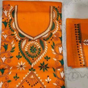 Women's Handloom Cotton Kantha Stich Churidar Piece With Duptta (15)