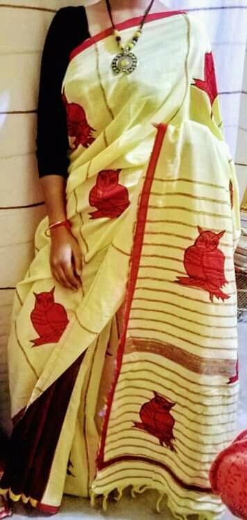 Woman's Handloom Cotton Applic Saree 4